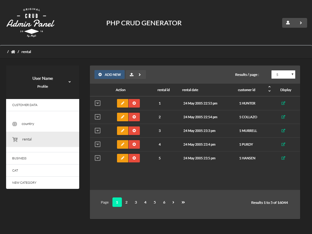 Bootstrap 4 Dashboard Generator - PHP CRUD Operations   PHPCG